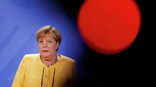 Канцлер Германии Ангела Меркель выступает с заявлением по Афганистану в Берлине, Германия