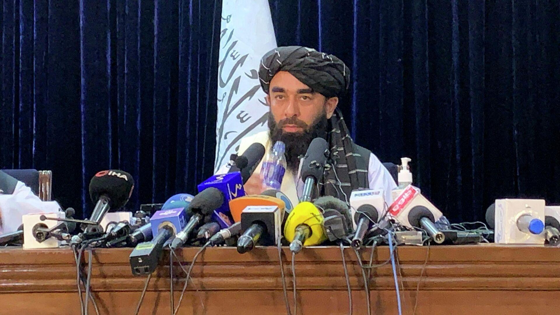 Представитель Талибана* Забихулла Муджахид во время пресс-конференции в Кабуле - РИА Новости, 1920, 07.09.2021