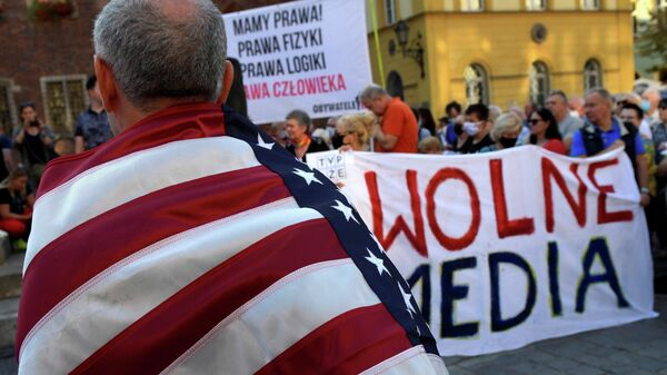 Демонстрация против принятия нового закона о телерадиовещании во Вроцлаве