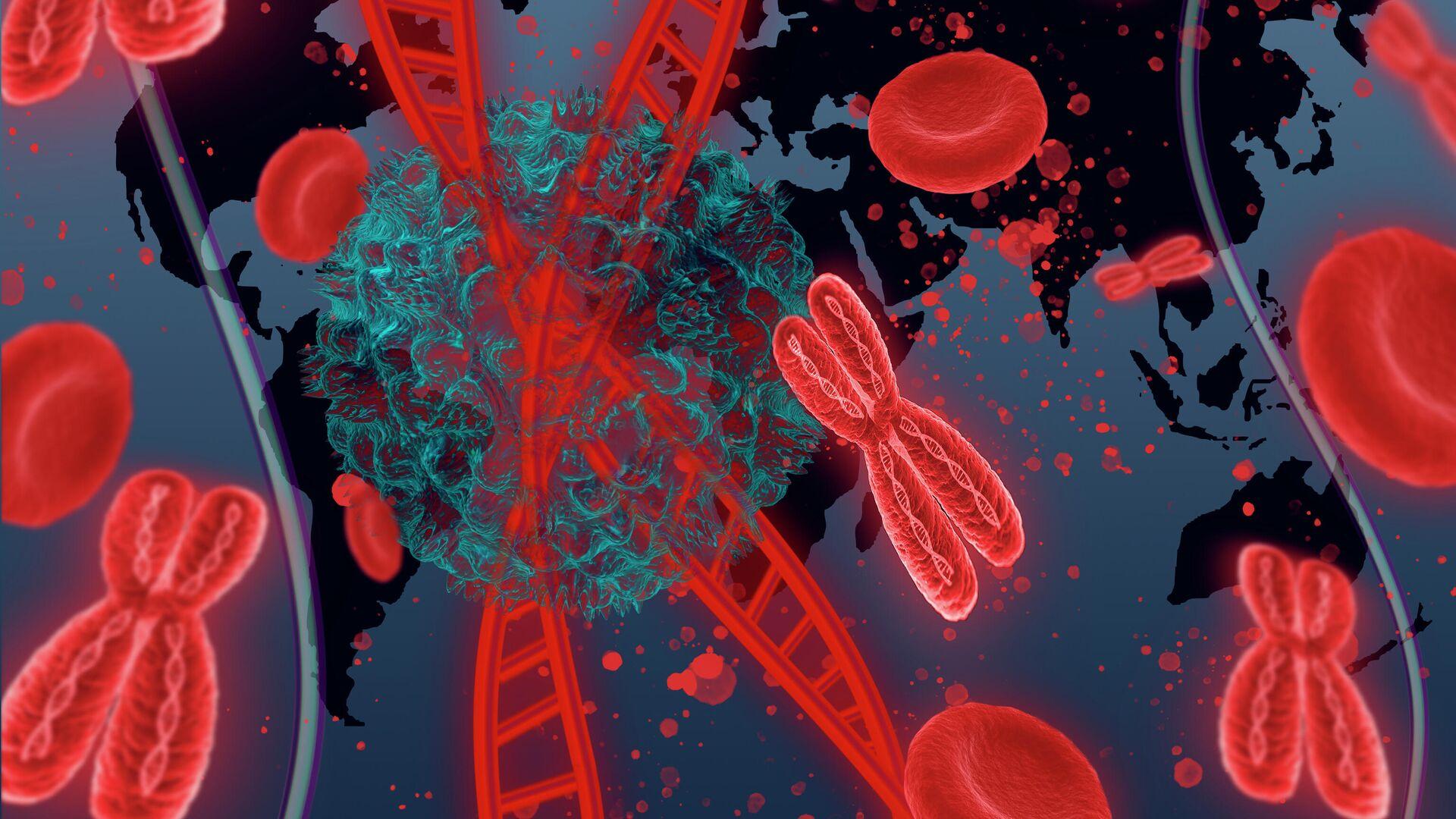Молекула ДНК человека с коронавирусом на фоне карты мира - РИА Новости, 1920, 25.08.2021
