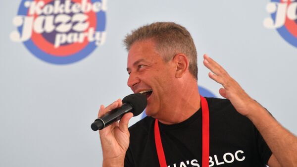 Музыкант Александр Гершман на пресс-конференции музыкального коллектива Sasha's Block в рамках открытия Международного джазового фестиваля Koktebel Jazz Party - 2021 в Крыму.