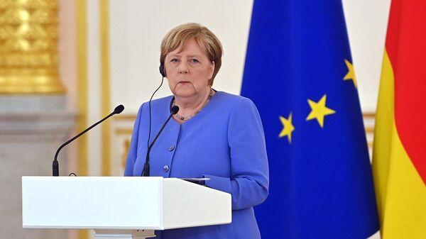 Федеральный канцлер Германии Ангела Меркель во время совместной с президентом РФ Владимиром Путиным пресс-конференции по итогам встречи
