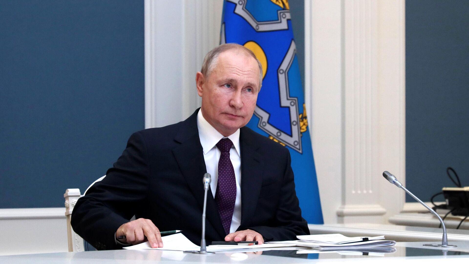 Президент РФ Владимир Путин принимает участие во внеочередной сессии Совета коллективной безопасности ОДКБ - РИА Новости, 1920, 23.08.2021