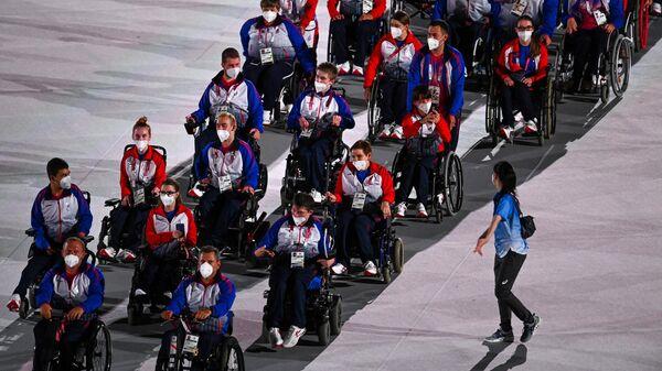 Российские спортсмены, члены сборной России (команда ПКР) на церемонии открытия XVI летних Паралимпийских игр