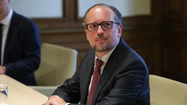 Министр европейских и международных дел Австрии Александр Шалленберг во время переговоров с министром иностранных дел РФ Сергеем Лавровым