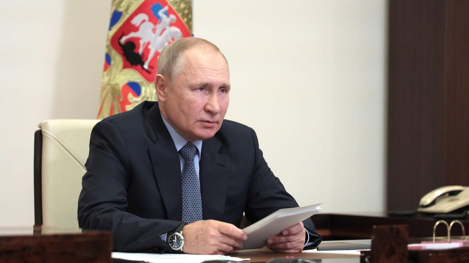 Президент РФ Владимир Путин в режиме видеоконференции проводит заседание президиума Государственного Совета - РИА Новости, 1920, 25.08.2021