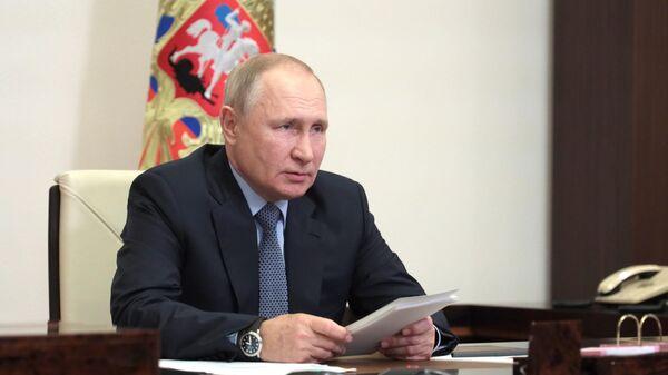 Президент РФ Владимир Путин в режиме видеоконференции проводит заседание президиума Государственного Совета