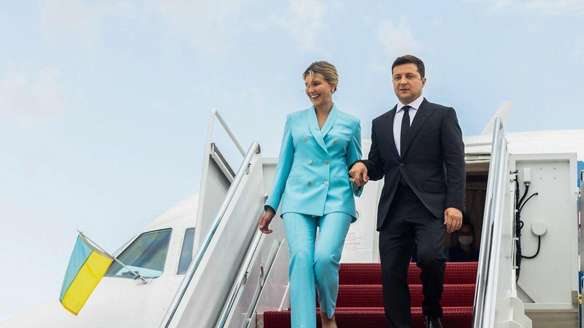 Президент Украины Владимир Зеленский с супругой Еленой в Вашингтоне - РИА Новости, 1920, 31.08.2021