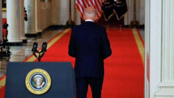 Президент США Джо Байден во время выступления в Белом доме
