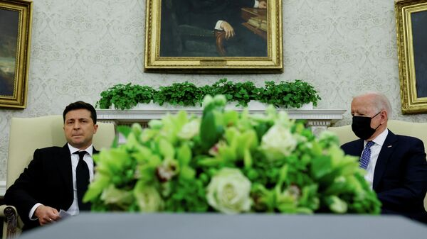 Президент Украины Владимир Зеленский и президент США Джо Байден во время встречи в Белом доме