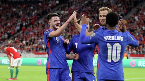 Soccer Football - World Cup - UEFA Qualifiers - Group I - Hungary v England - Puskas Arena, Budapest, Hungary - September 2, 2021 England's Harry Kane celebrates scoring their second goal with Declan Rice, Jack Grealish and Raheem Sterling REUTERS/Carl Recine