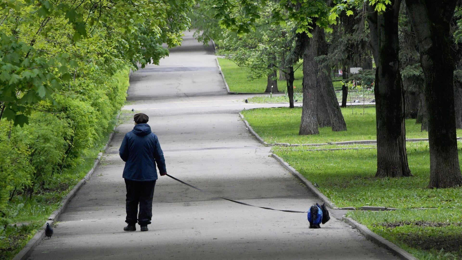 Женщина с собакой во время прогулки - РИА Новости, 1920, 15.09.2021