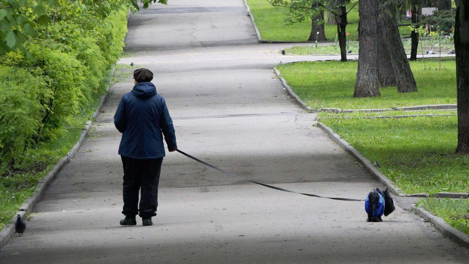 Женщина с собакой во время прогулки - РИА Новости, 1920, 08.09.2021