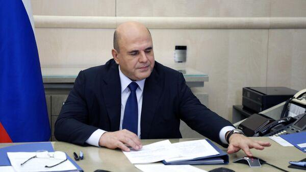 Председатель правительства РФ Михаил Мишустин во время совещания с членами кабинета министров РФ в режиме видеоконференции