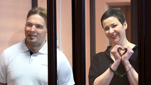 Мария Колесникова и Максим Знак во время вынесения приговора в Минском областном суде