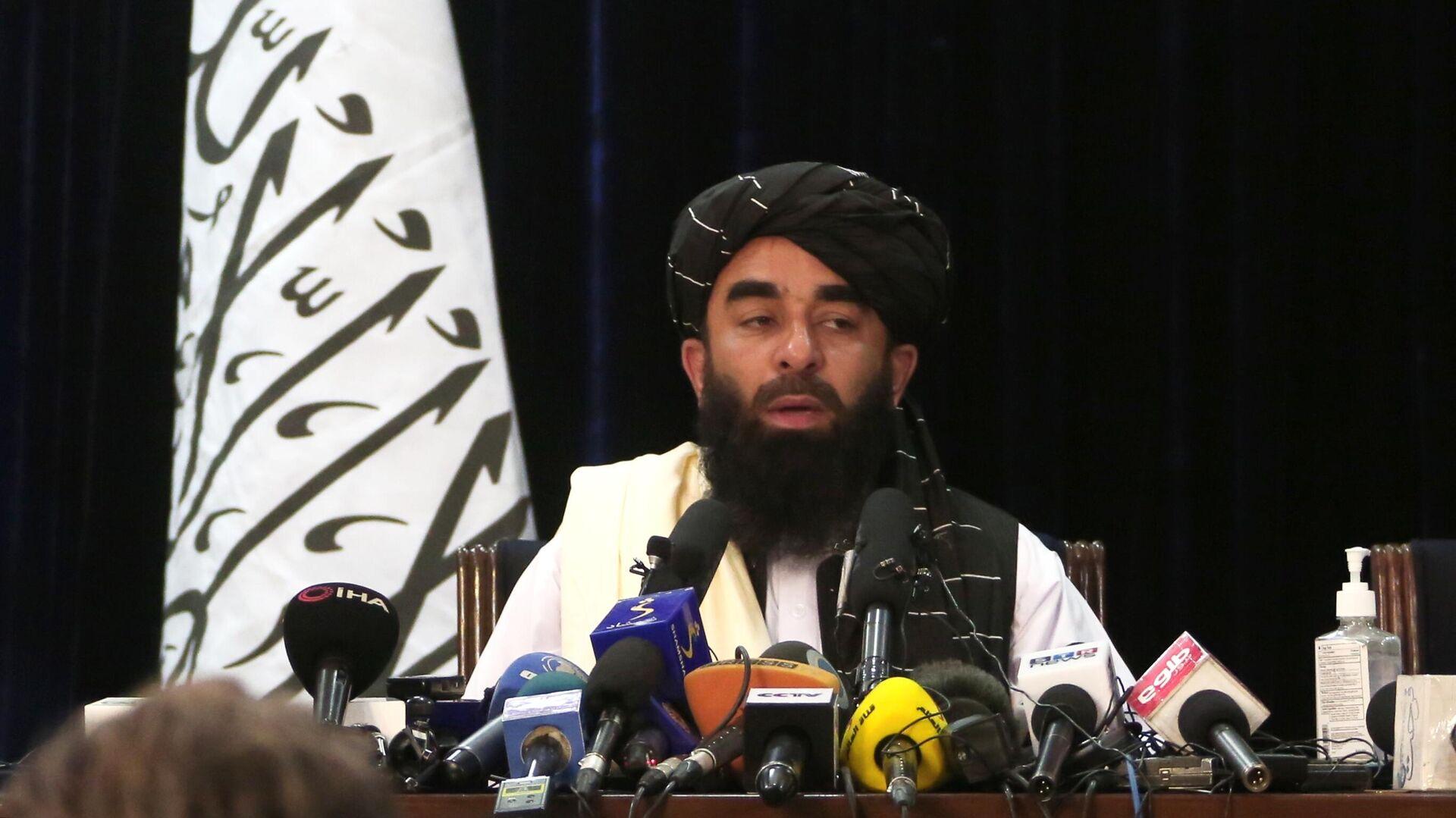 Представитель движения Талибан* Забиулла Муджахид во время пресс-конференции в Кабуле - РИА Новости, 1920, 23.09.2021