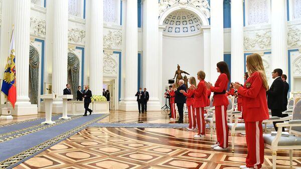 Президент РФ В. Путин встретился в Кремле с победителями и призёрами Игр XXXII Олимпиады в Токио