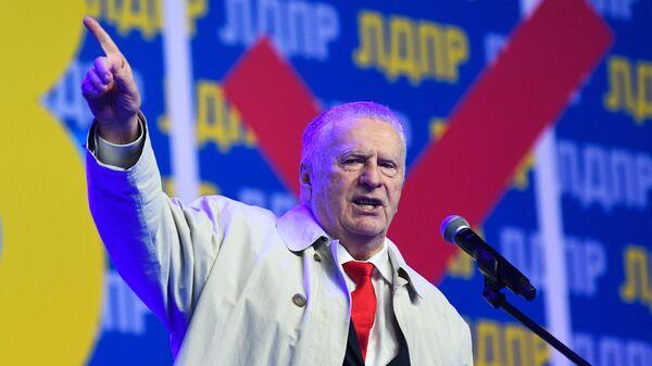 Лидер ЛДПР Владимир Жириновский на всероссийском слете активистов партии ЛДПР в Москве