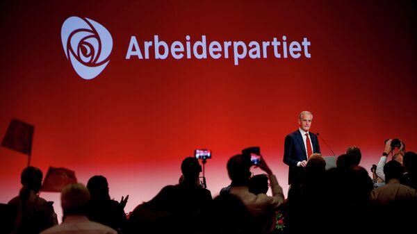 Глава Рабочей партии Йонас Гар Стере во время парламентских выборов в Осло, Норвегия