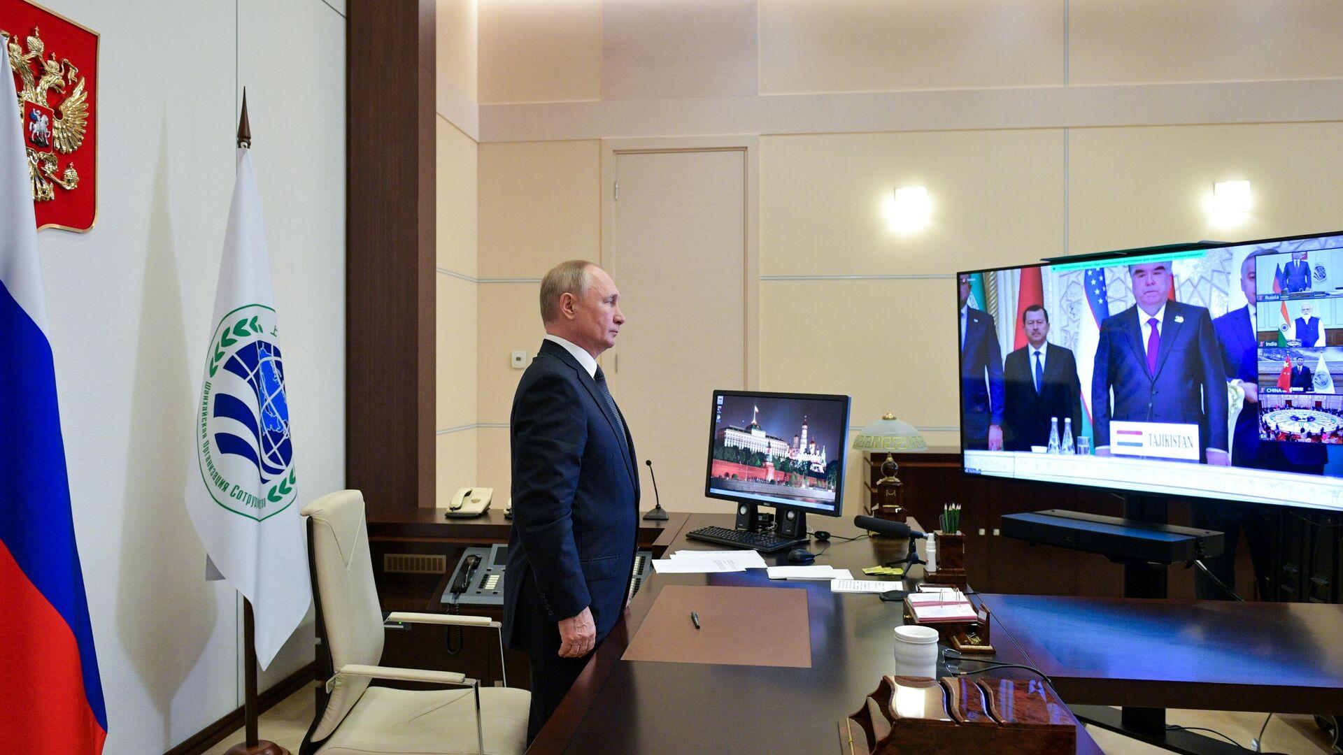 Президент РФ Владимир Путин в режиме видеоконференции принимает участие в заседании Совета глав государств - членов Шанхайской организации сотрудничества - РИА Новости, 1920, 17.09.2021