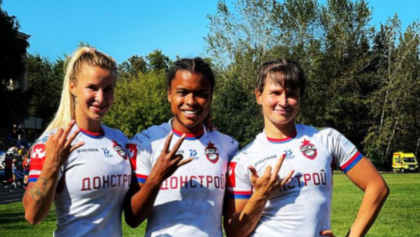 Игроки женского регбийного клуба ЦСКА