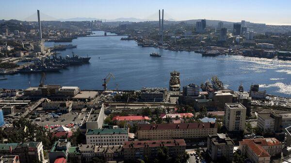 Вид на Золотой мост через бухту Золотой рог во Владивостоке
