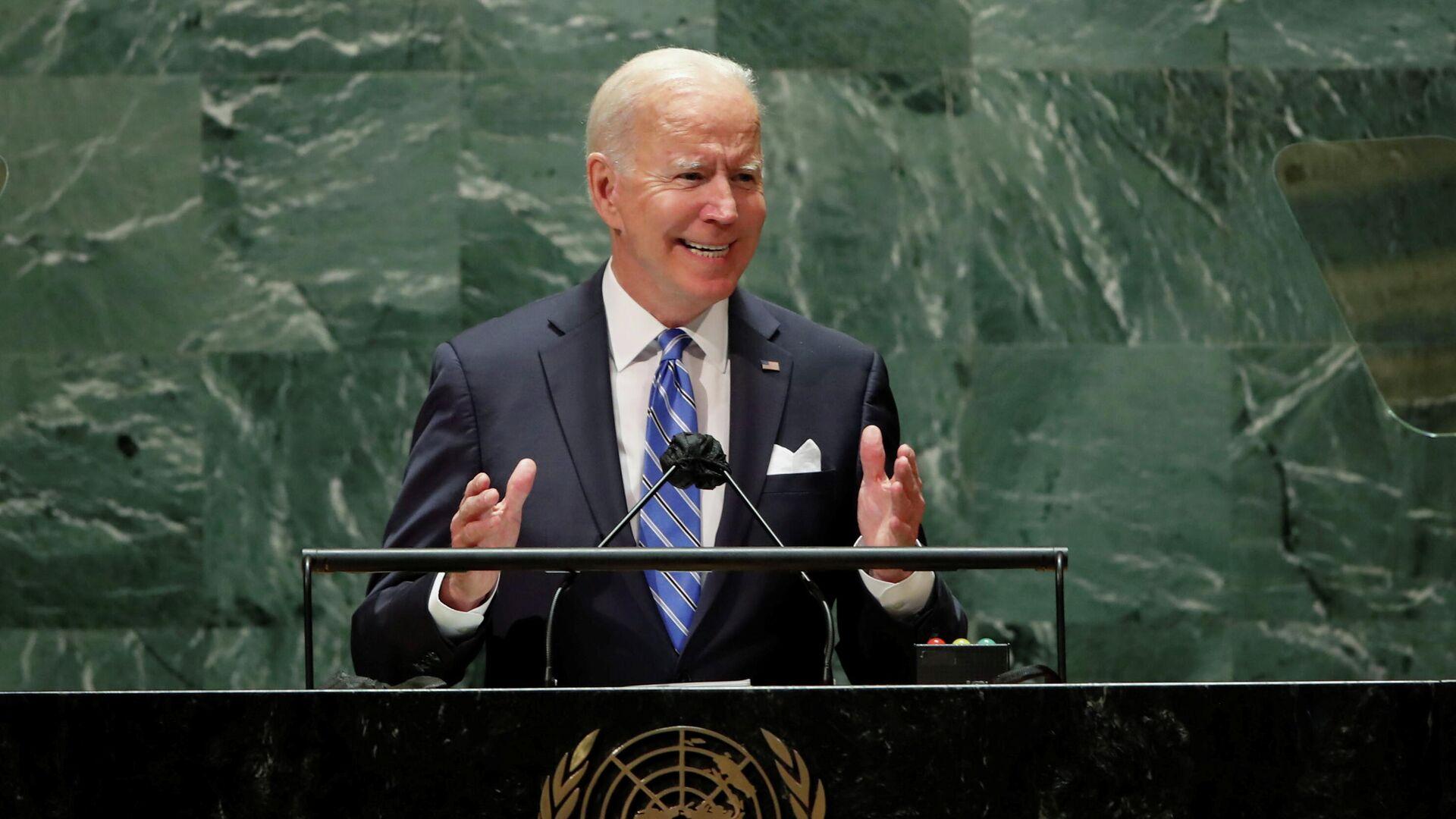 Президент США Джо Байден выступает на сессии Генеральной Ассамблеи ООН в Нью-Йорке - РИА Новости, 1920, 24.09.2021