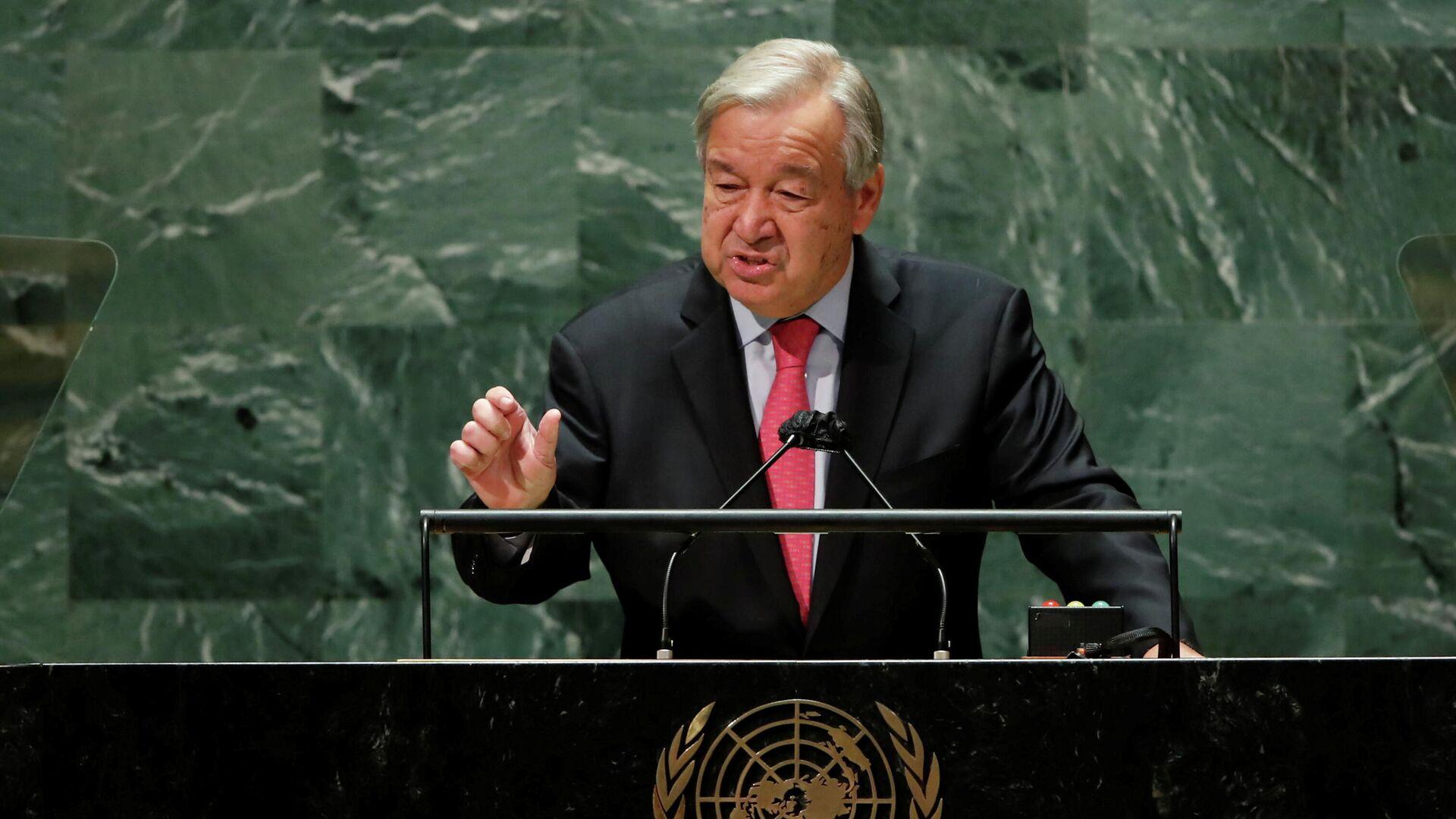 Генеральный секретарь ООН Антониу Гутерреш выступает на Генеральной Ассамблее в Нью-Йорке - РИА Новости, 1920, 11.10.2021