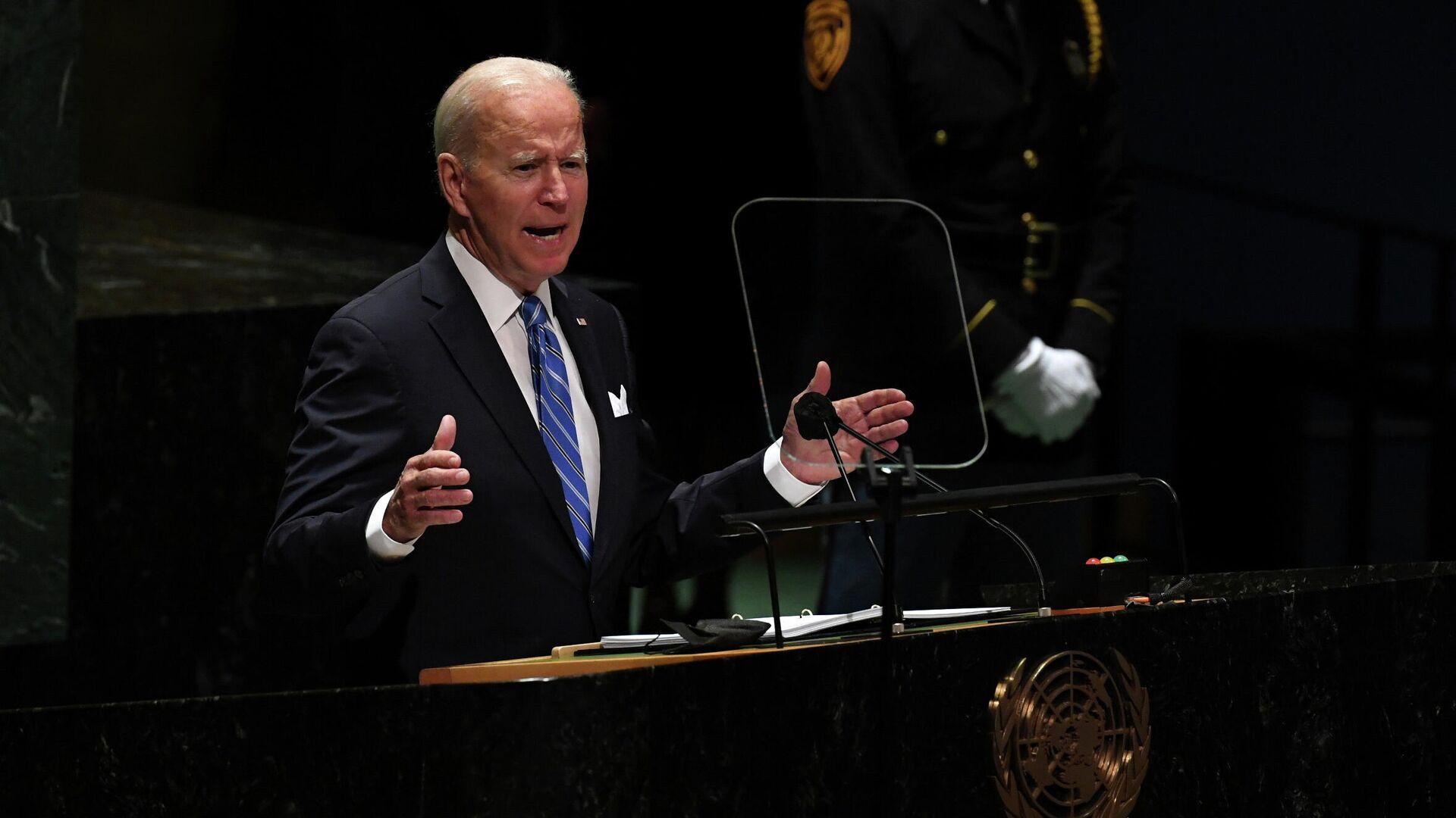 Президент США Джо Байден выступает на сессии Генеральной Ассамблеи ООН в Нью-Йорке - РИА Новости, 1920, 22.09.2021