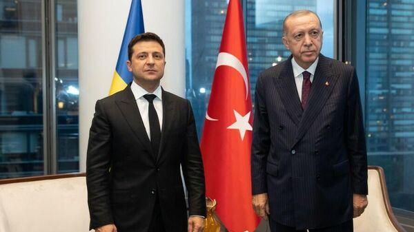 Президент Украины Владимир Зеленский и президент Турции Тайип Эрдоган во время встречи в Нью-Йорке
