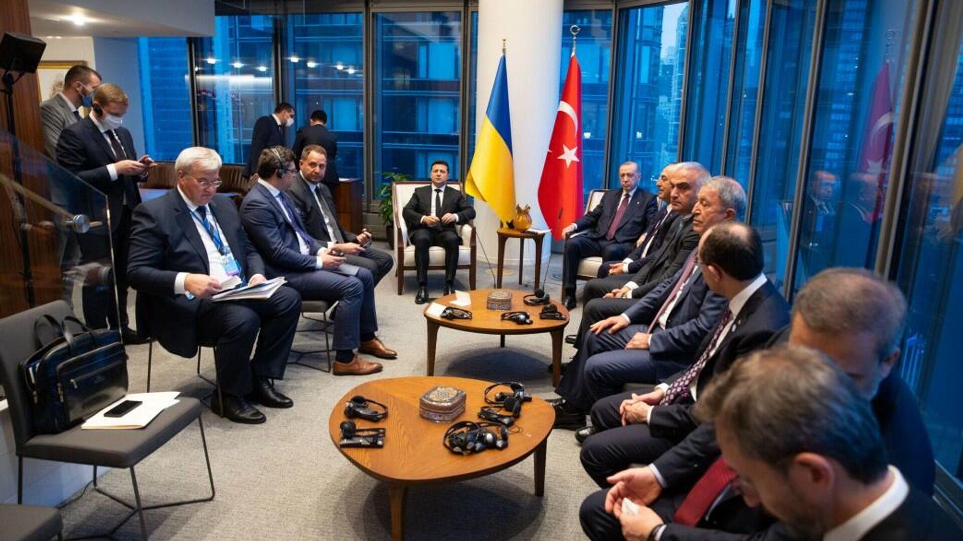 Президент Украины Владимир Зеленский и президент Турции Тайип Эрдоган во время встречи в Нью-Йорке - РИА Новости, 1920, 30.09.2021