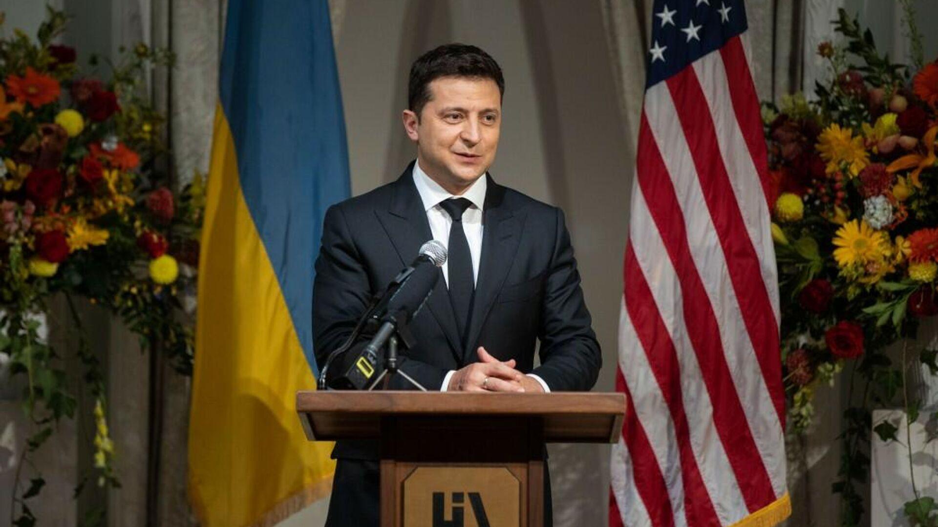 Президент Украины Владимир Зеленский во время визита в Нью-Йорк - РИА Новости, 1920, 22.09.2021