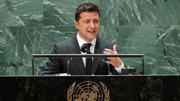 Президент Украины Владимир Зеленский во время выступления на Генассамблее ООН в Нью-Йорке
