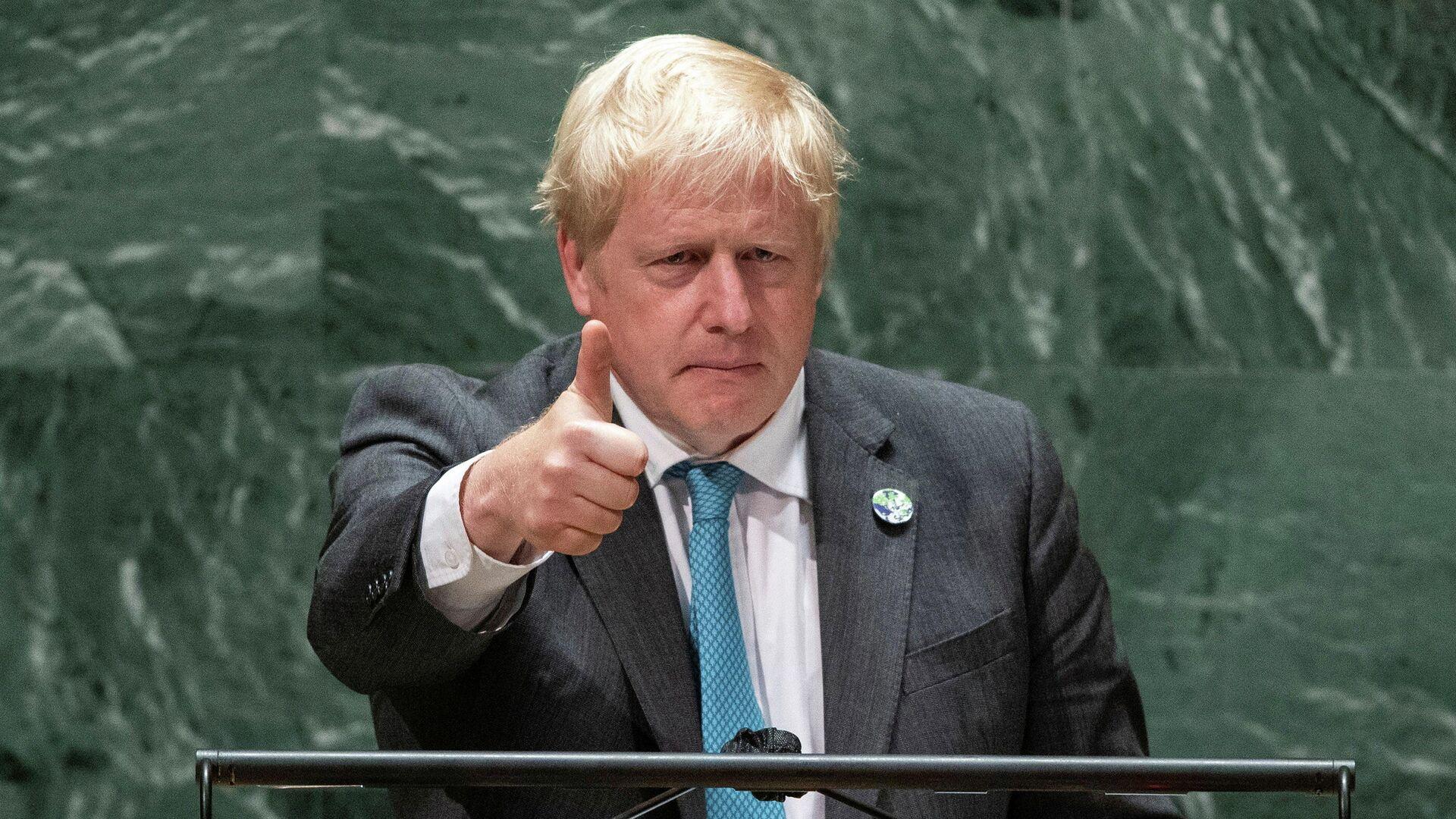 Премьер-министр Великобритании Борис Джонсон во время выступления на Генассамблее ООН в Нью-Йорке - РИА Новости, 1920, 23.09.2021