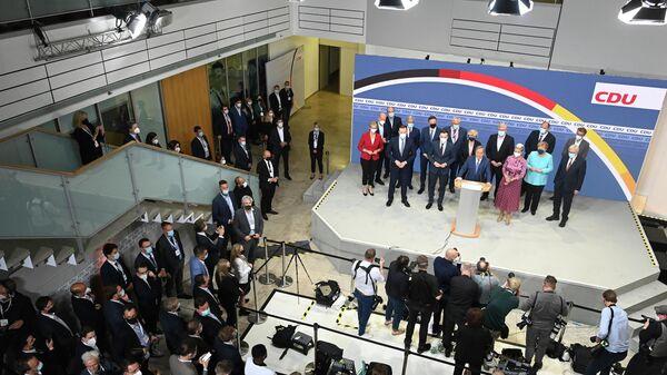 Партия ХДС (Христианско-демократический союз) после объявления данных экзит-поллов на выборах в Германии