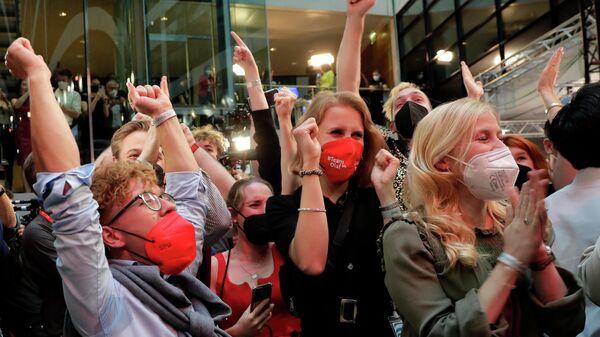 Реакция сторонников Социал-демократической партии после выборов в парламент Германии