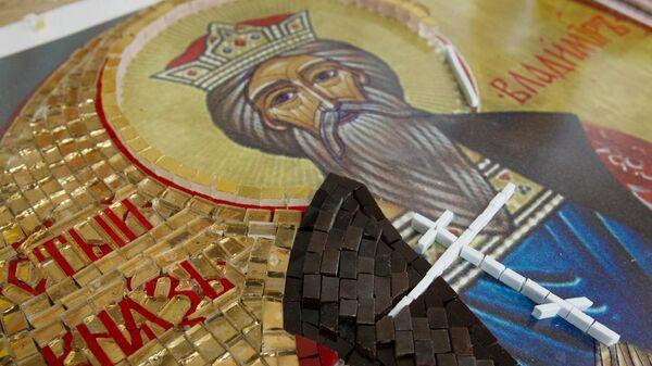 Фрагмент мозаичной иконы святого князя Владимира