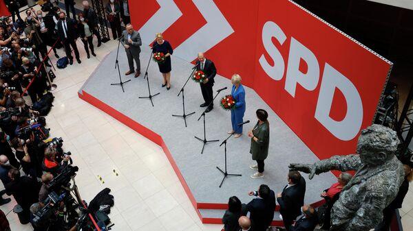 Выступление лидеров Социал-Демократическая партии Германии после выборов