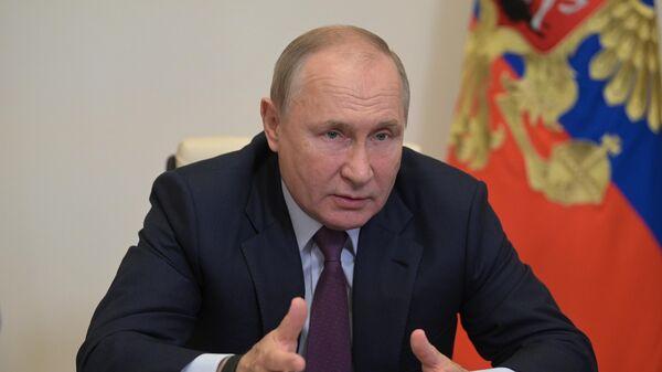 Президент РФ Владимир Путин во время встречи в режиме видеоконференции с лидерами предвыборного списка Всероссийской политической партии Единая Россия