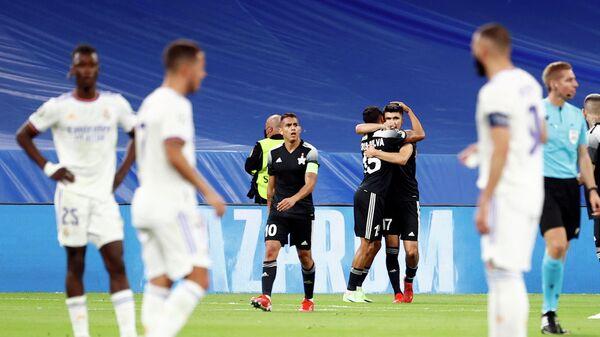 Футболисты Шерифа празднуют гол в матче с Реалом