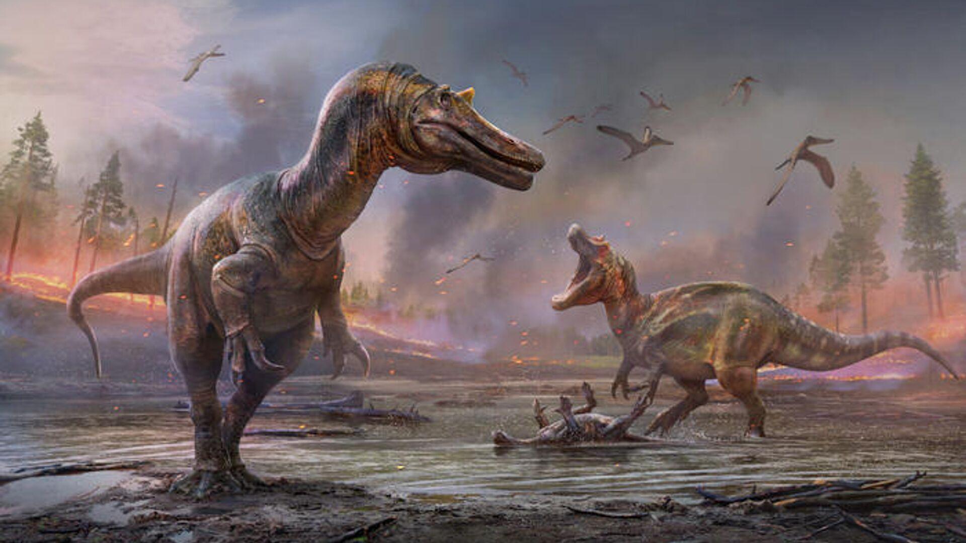 Художественное представление Ceratosuchops inferodios на переднем плане и Riparovenator milnerae - на заднем - РИА Новости, 1920, 29.09.2021