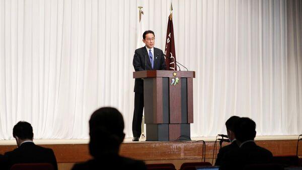Бывший министр иностранных дел Японии Фумио Кисида после избрания президентом Либерально-демократической партии в штаб-квартире партии в Токио