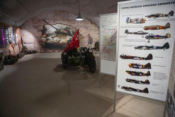 Зал военно-исторического музея Гора Филина в северной части города Лахденпохья в Карелии