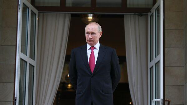 Президент РФ Владимир Путин по окончании встречи с президентом Турции Реджепом Тайипом Эрдоганом в Сочи