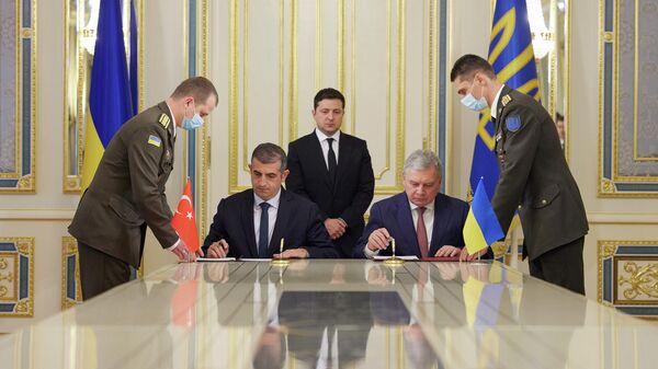 Подписание меморандума о строительстве совместного учебно-испытательного центра по эксплуатации беспилотников компании Bayraktar Savunma в Киеве