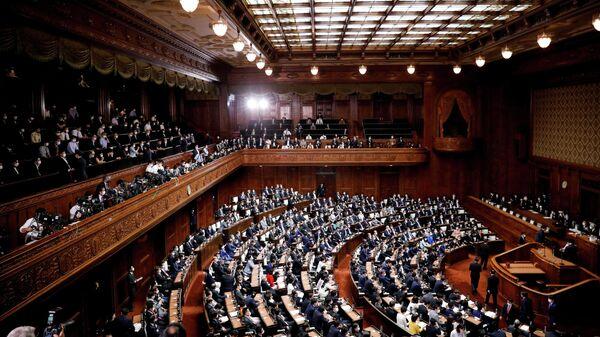 Заседании нижней палаты парламента в Токио, Япония
