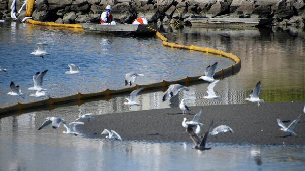 Очистка побережья после нефтяного разлива в Хантингтон-Бич, Калифорния, США