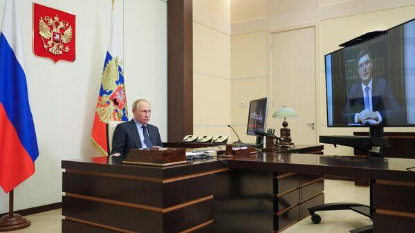 Владимир Путин проводит в режиме видеоконференции встречу с временно исполняющим обязанности губернатора Владимирской области Александром Авдеевым.