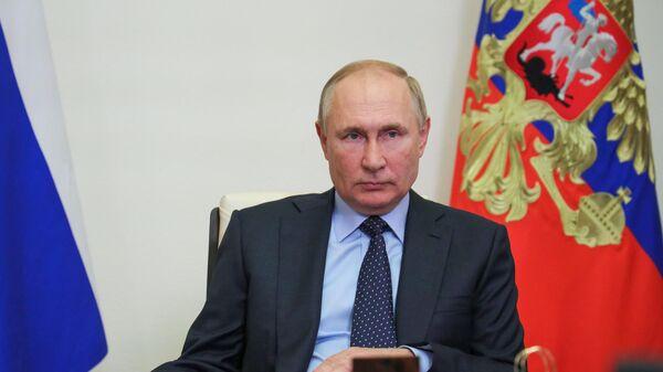 Президент РФ Владимир Путин проводит в режиме видеоконференции встречу с временно исполняющим обязанности губернатора Владимирской области Александром Авдеевым