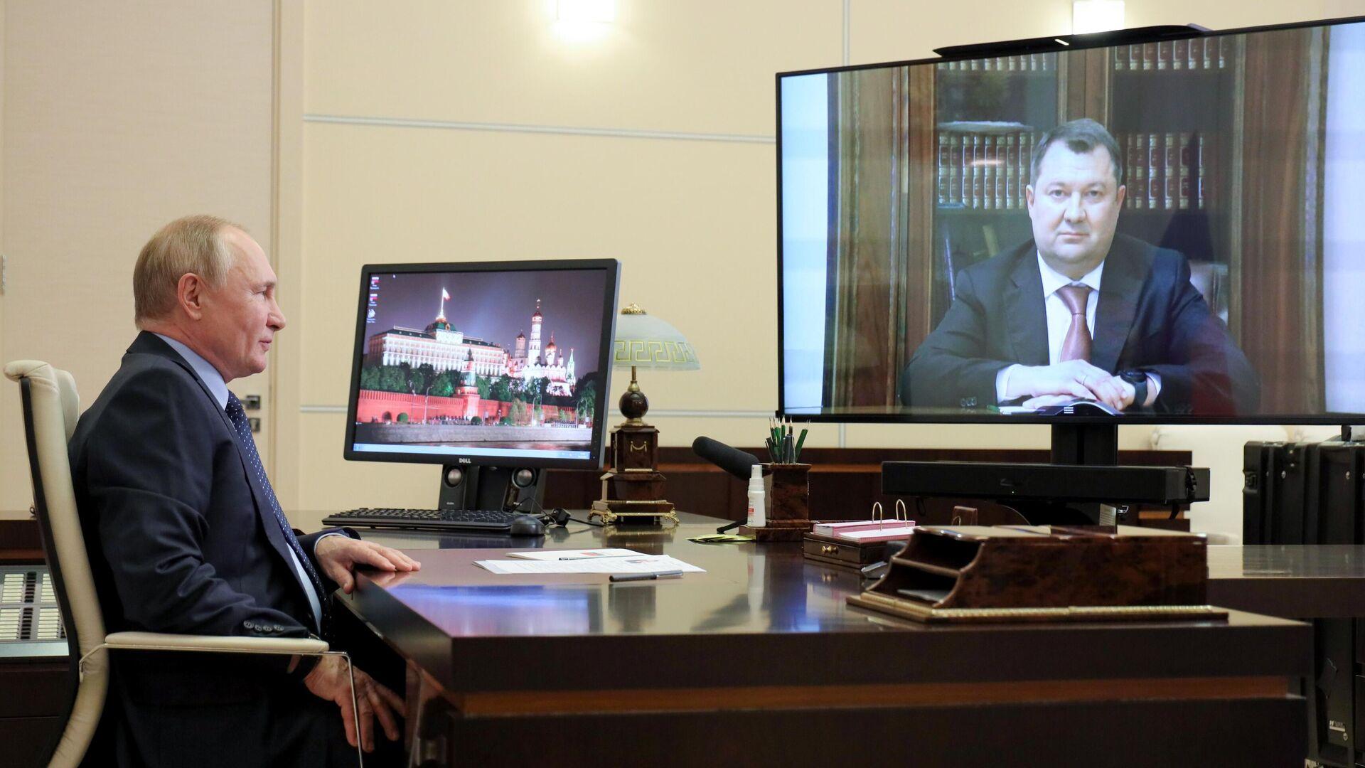 Президент РФ Владимир Путин проводит в режиме видеоконференции встречу с временно исполняющим обязанности губернатора Тамбовской области Максимом Егоровым - РИА Новости, 1920, 04.10.2021